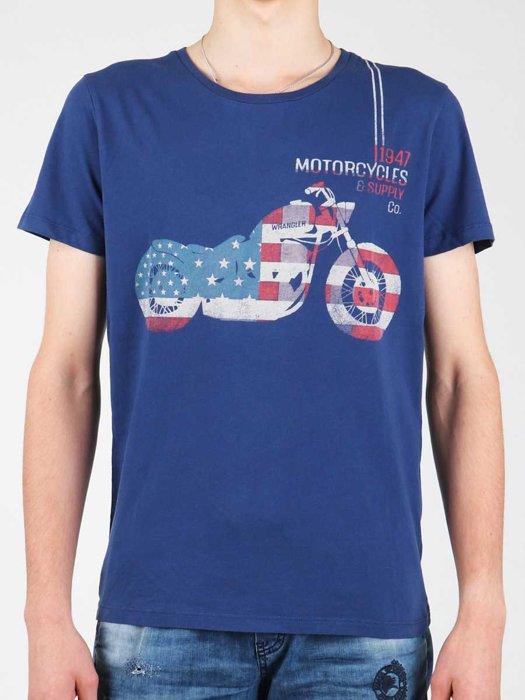 Wrangler S/S Biker Flag Tee W7A53FK 1F